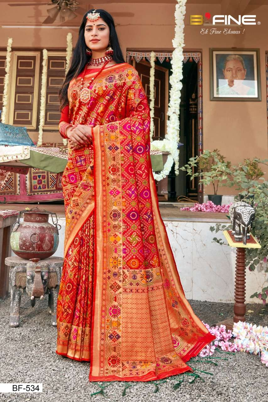 B Fine Patola Heavy Silk Designer Wedding Wear Sarees Collection  534