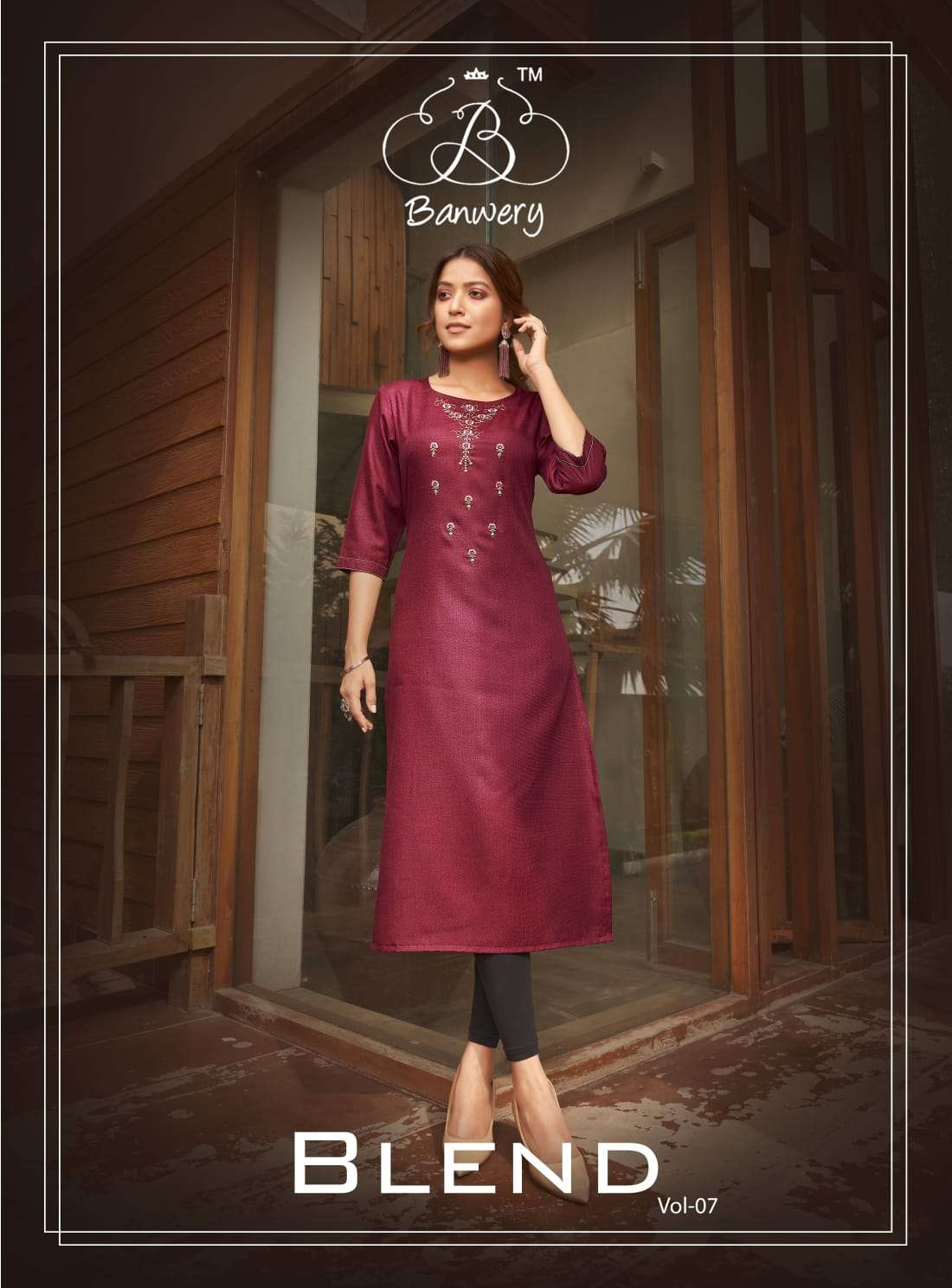 Banwery Blend Vol 7 Cotton with Embroidery Work Kurtis Collection