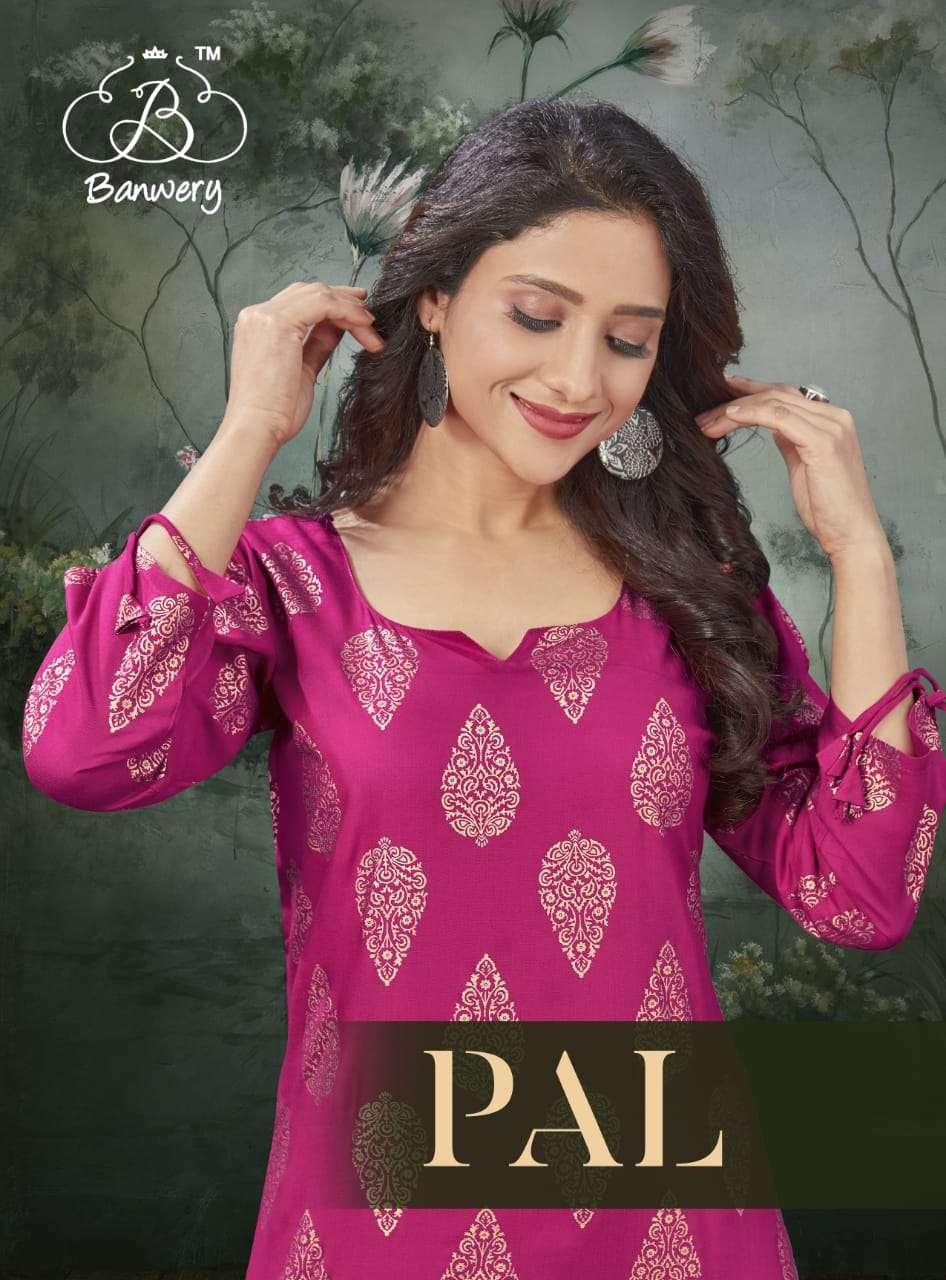 Banwery pal Rayon With Foil Print Kurtis collection