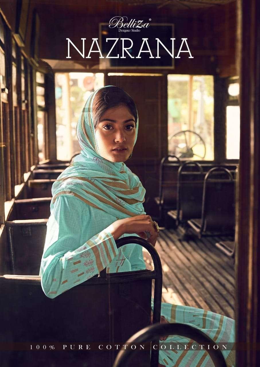 Belliza Designer Studio Nazrana Pure Cotton Digital Print Dress Material collection