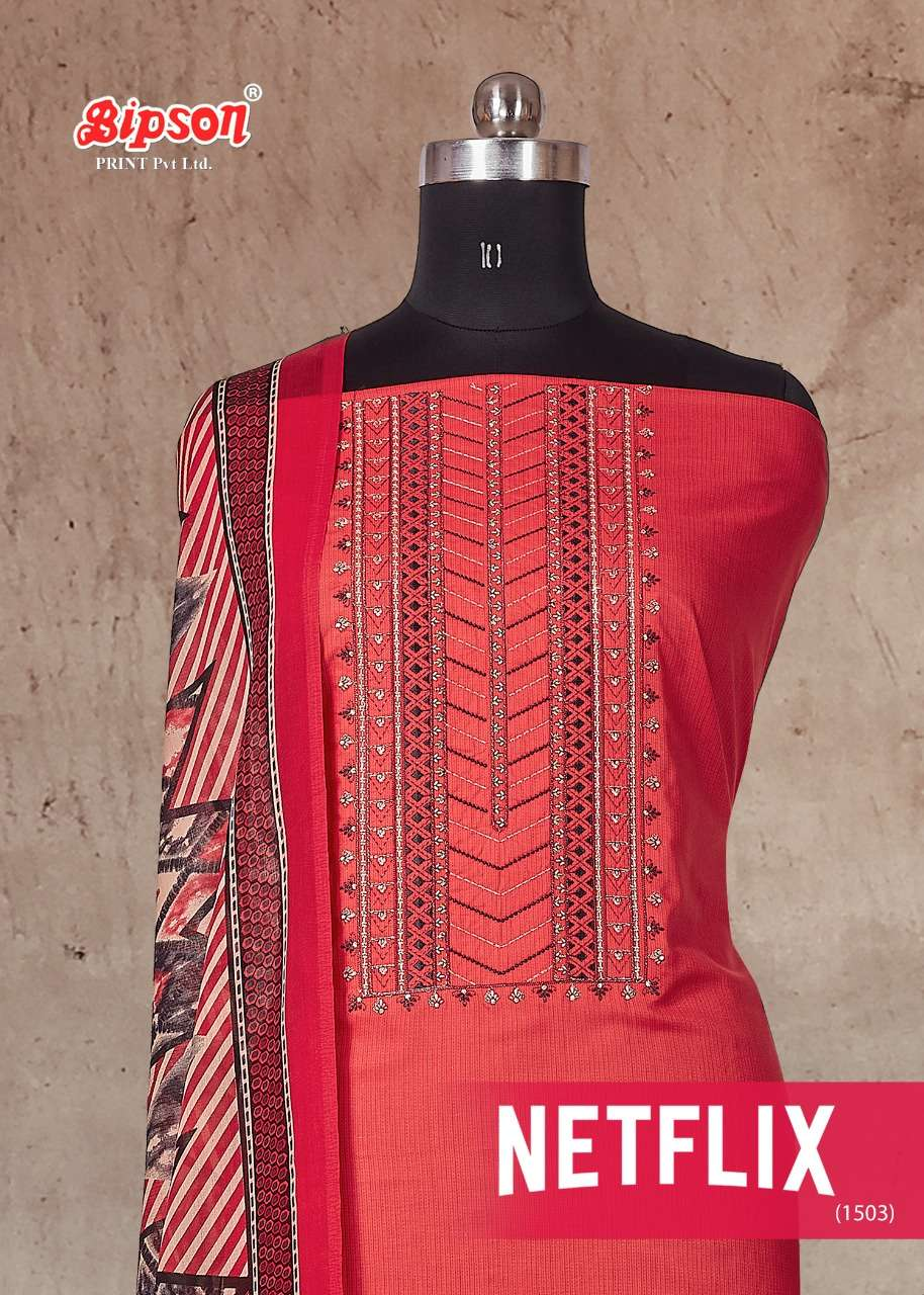 Bipson Netflix Cotton print With Embroidery work Dress Material Collection