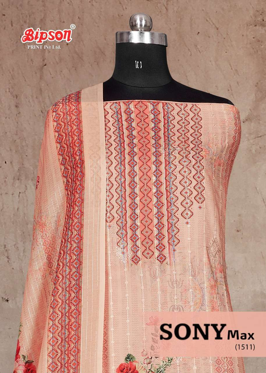 Bipson Sony Max 1511 Series Pure Cotton Satin Digital Print With Embroidery Work Dress material collection
