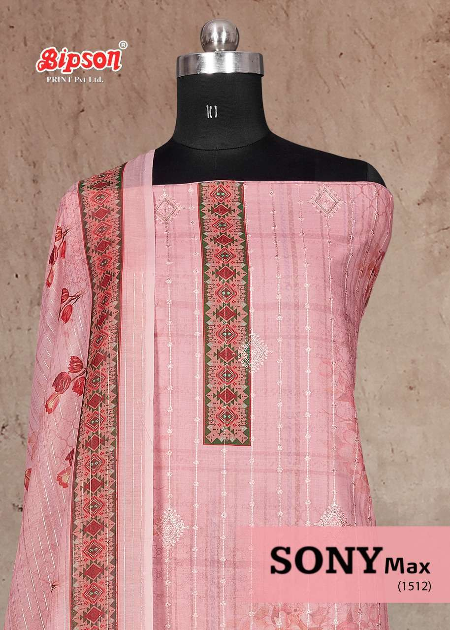 Bipson Sony Max 1512 Series Pure Cotton Digital Print With Embroidery Work Dress material collection