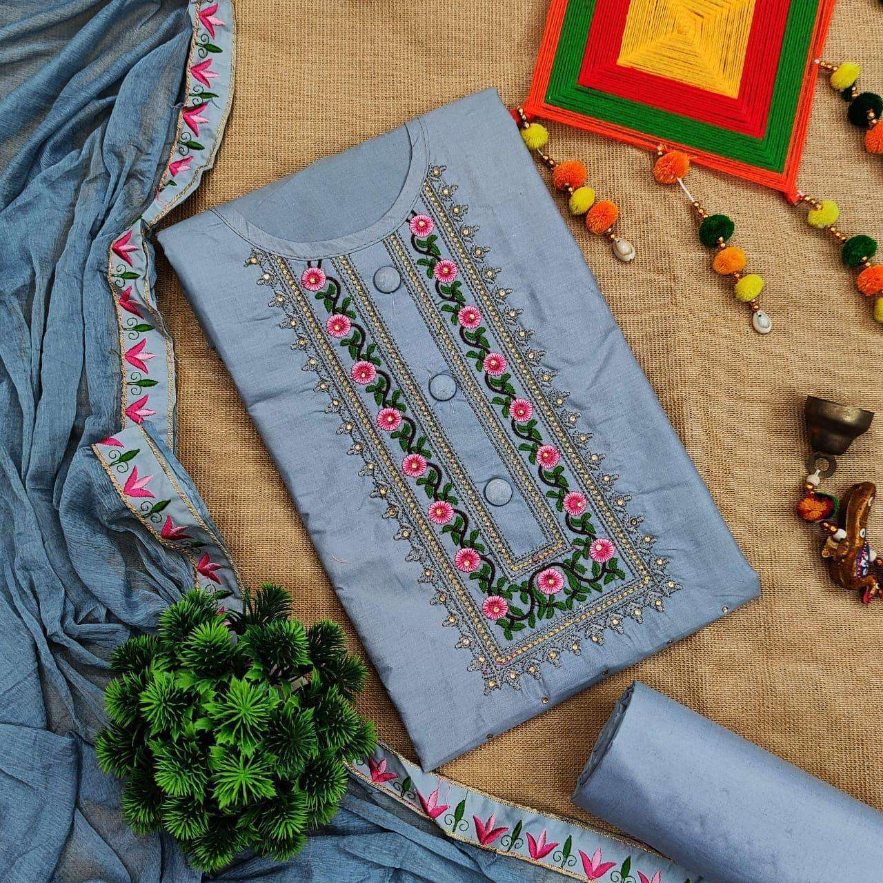 Cotton Vol 1 Cotton With Embroidery Work Dress Material Collection 01