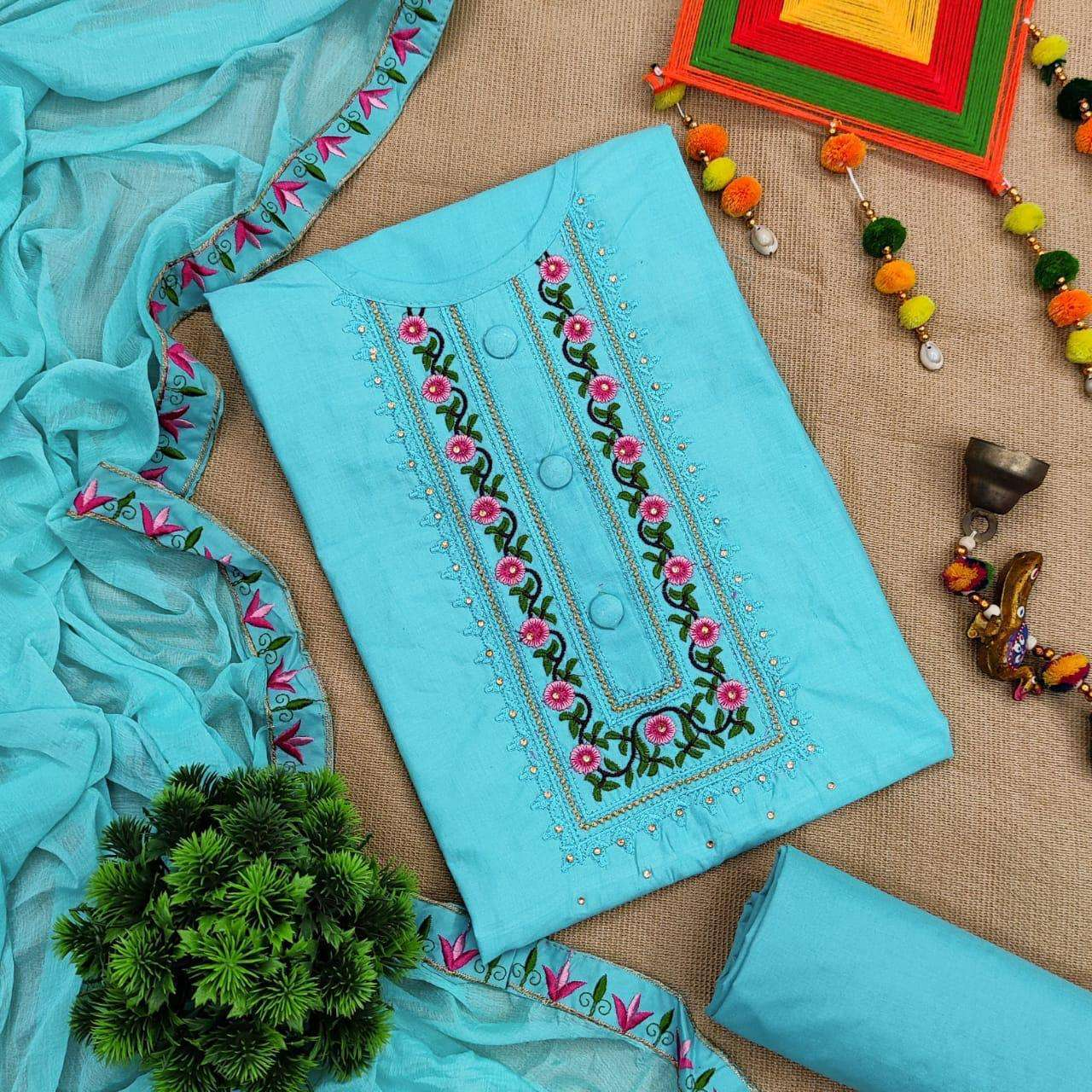 Cotton Vol 1 Cotton With Embroidery Work Dress Material Collection 02