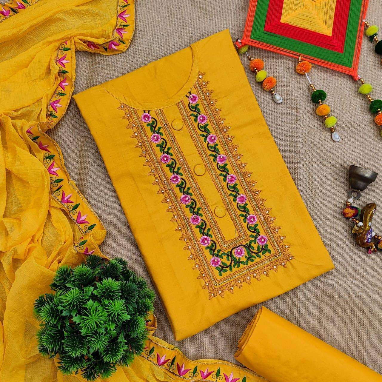 Cotton Vol 1 Cotton With Embroidery Work Dress Material Collection0 4