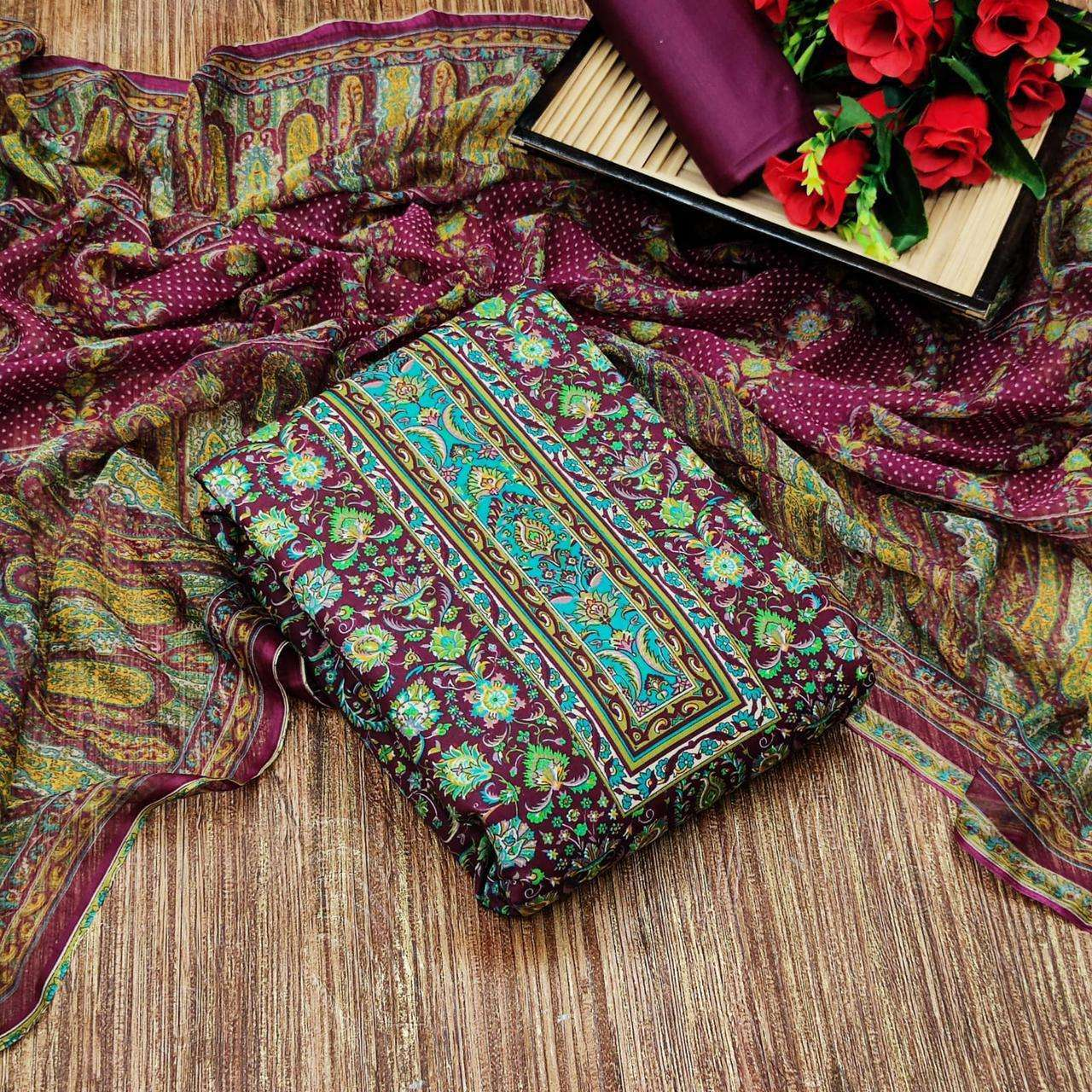 Cotton With Floral Printed Regular Wear Dress Material Collection 03