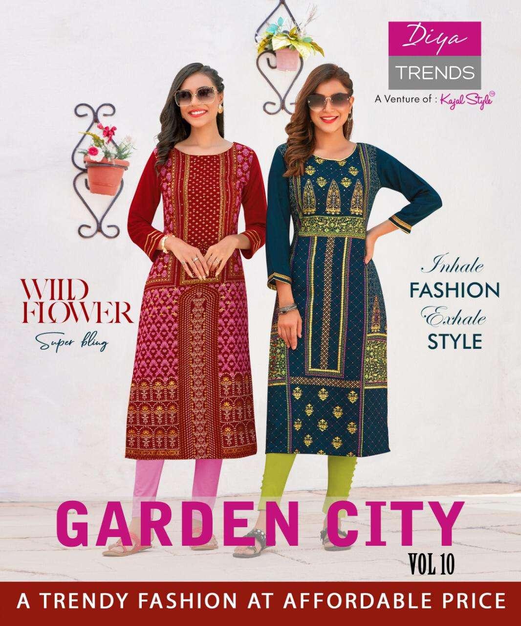 Diya Trends Garden City Vol 10 Rayon With Foil Print Regular Wear Kurtis collection