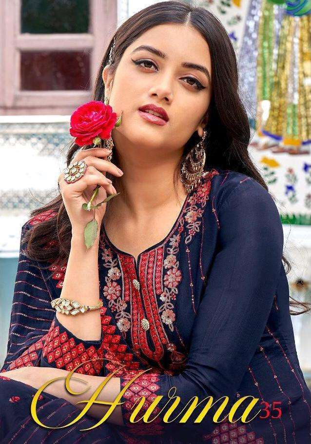 Eba Lifestyle Hurma Vol 35 Faux Georgette With Embroidery Work Salwar Kameez Collection