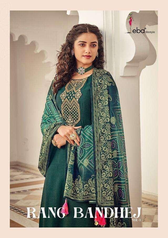 Eba Lifestyle Rang Bandhej heavy Chinon With Embroidery Work Salwar Kameez Collection