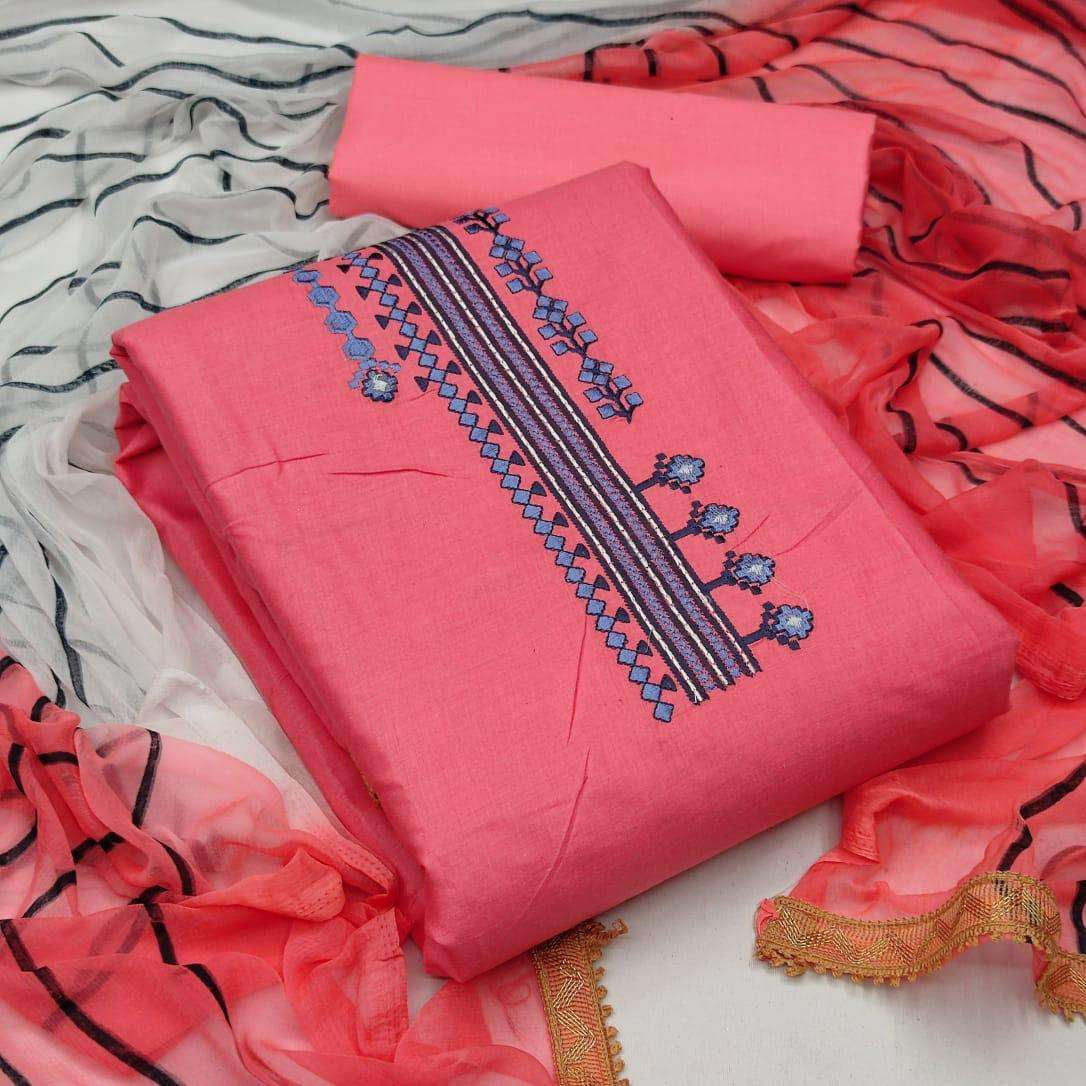 Exclusive Cotton With Embroidery Work Dress Material Collection 01