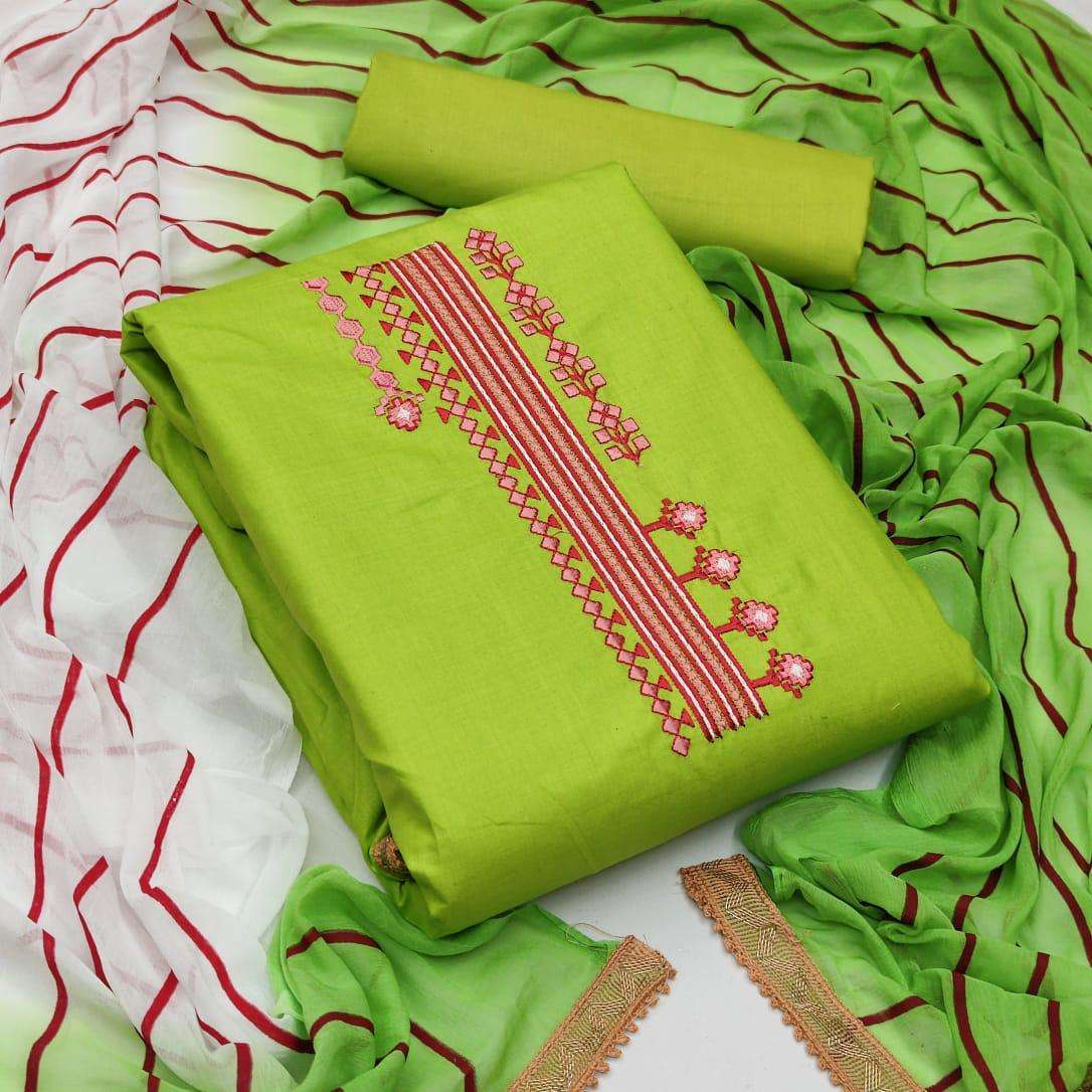 Exclusive Cotton With Embroidery Work Dress Material Collection 03