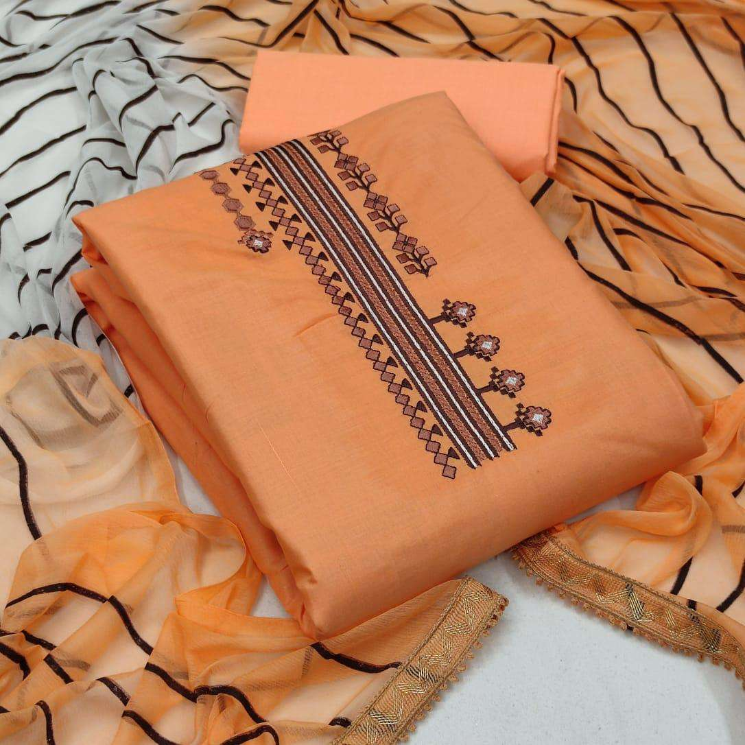 Exclusive Cotton With Embroidery Work Dress Material Collection02