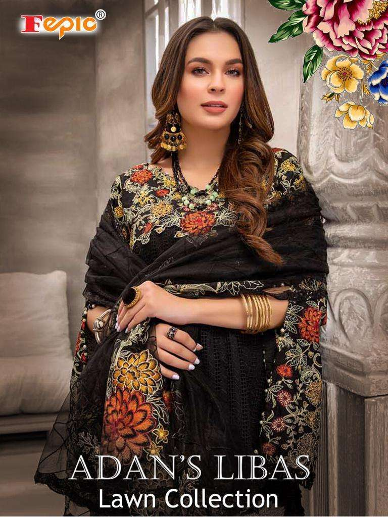 Fepic Adans Libas Lawn Collection Cotton With Embroidery Work Pakistani Suits Collection
