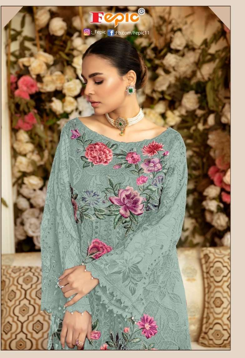Fepic Rosemeen 91001 Series net With Embroidery Patch work Pakistani Suits collection