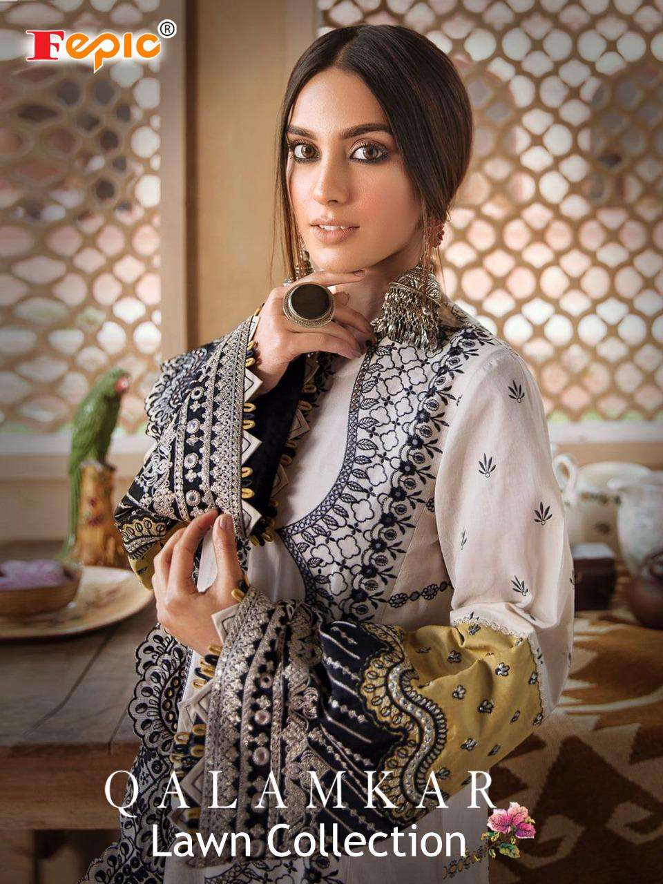 Fepic Rosemeen Qalamkaar lawn Collection Cambric Cotton With Schiffli Work Pakistani suits collection