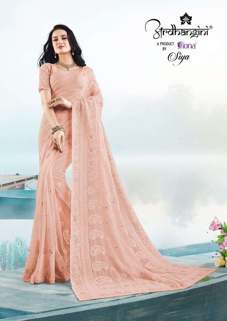 Fiona Ardhangini Siya Designer Georgette With Lucknowi Work Sarees Collection  01