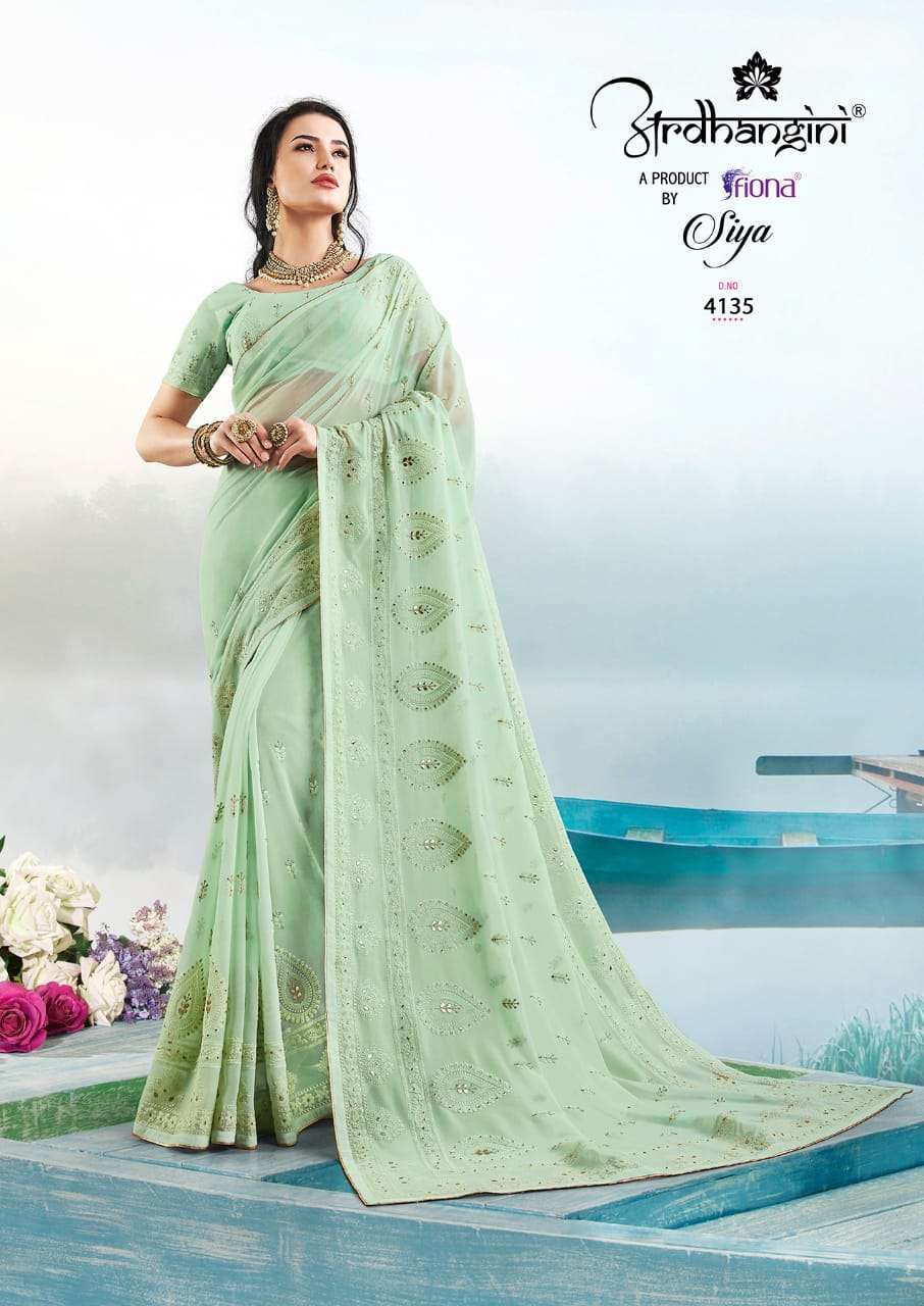 Fiona Ardhangini Siya Designer Georgette With Lucknowi Work Sarees Collection  02
