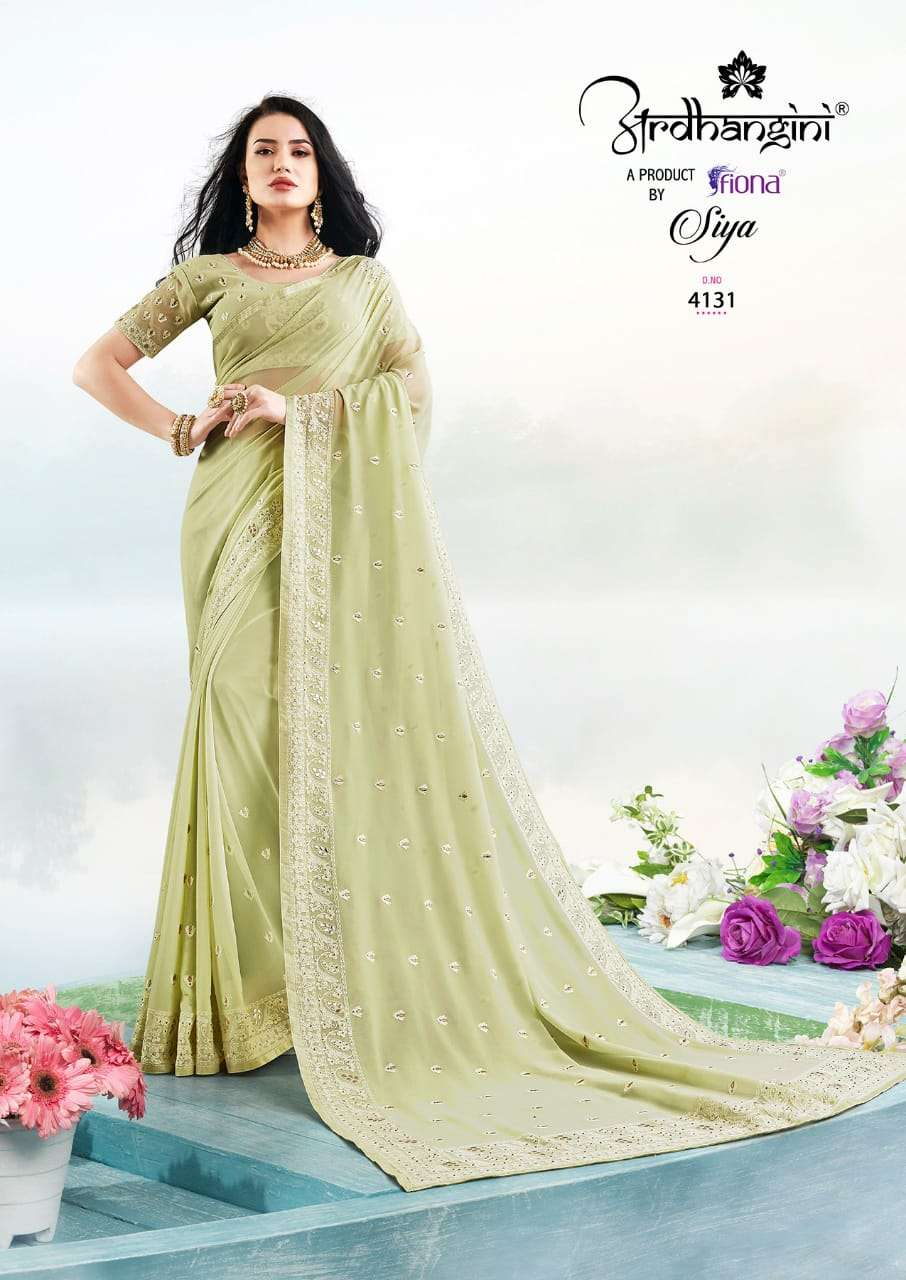 Fiona Ardhangini Siya Designer Georgette With Lucknowi Work Sarees Collection  03