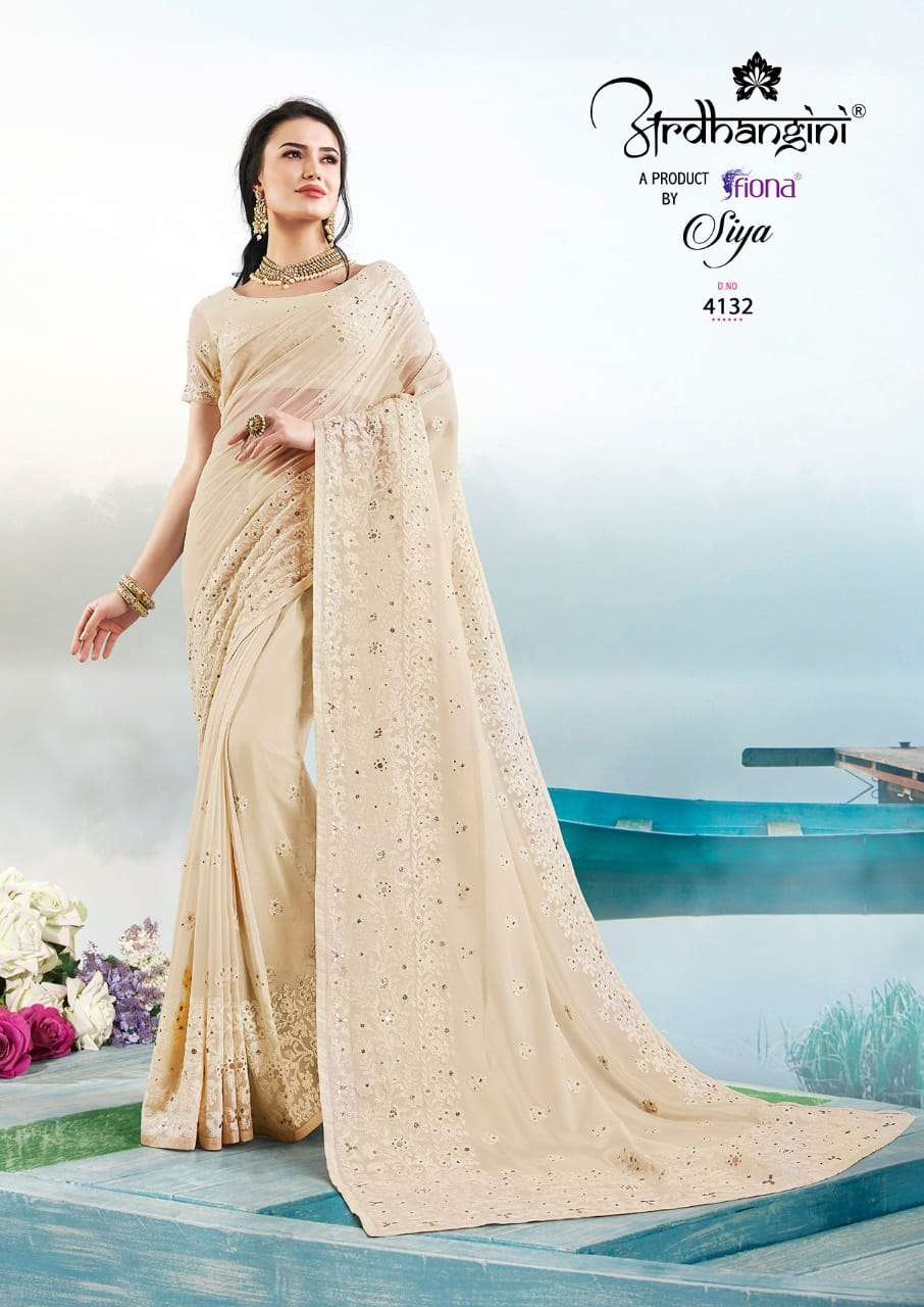 Fiona Ardhangini Siya Designer Georgette With Lucknowi Work Sarees Collection  04