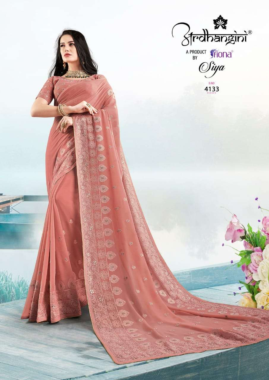 Fiona Ardhangini Siya Designer Georgette With Lucknowi Work Sarees Collection  05