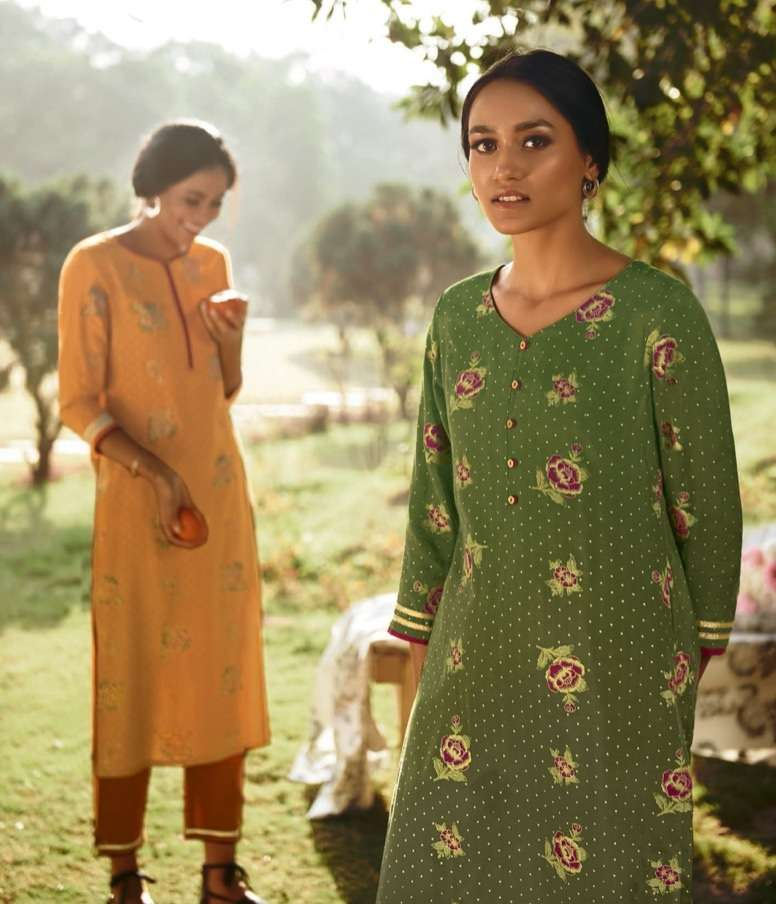 Four Buttons Four Gems Vol 3 Viscose Silk With Floral Gold Printed Kurti With Bottom And Dupatta collection