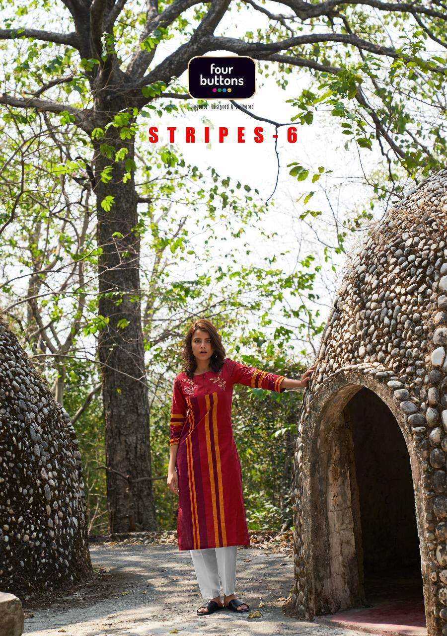 Four Buttons Stripes Vol 6 Woven Cotton With Embroidery Work Kurti Collection
