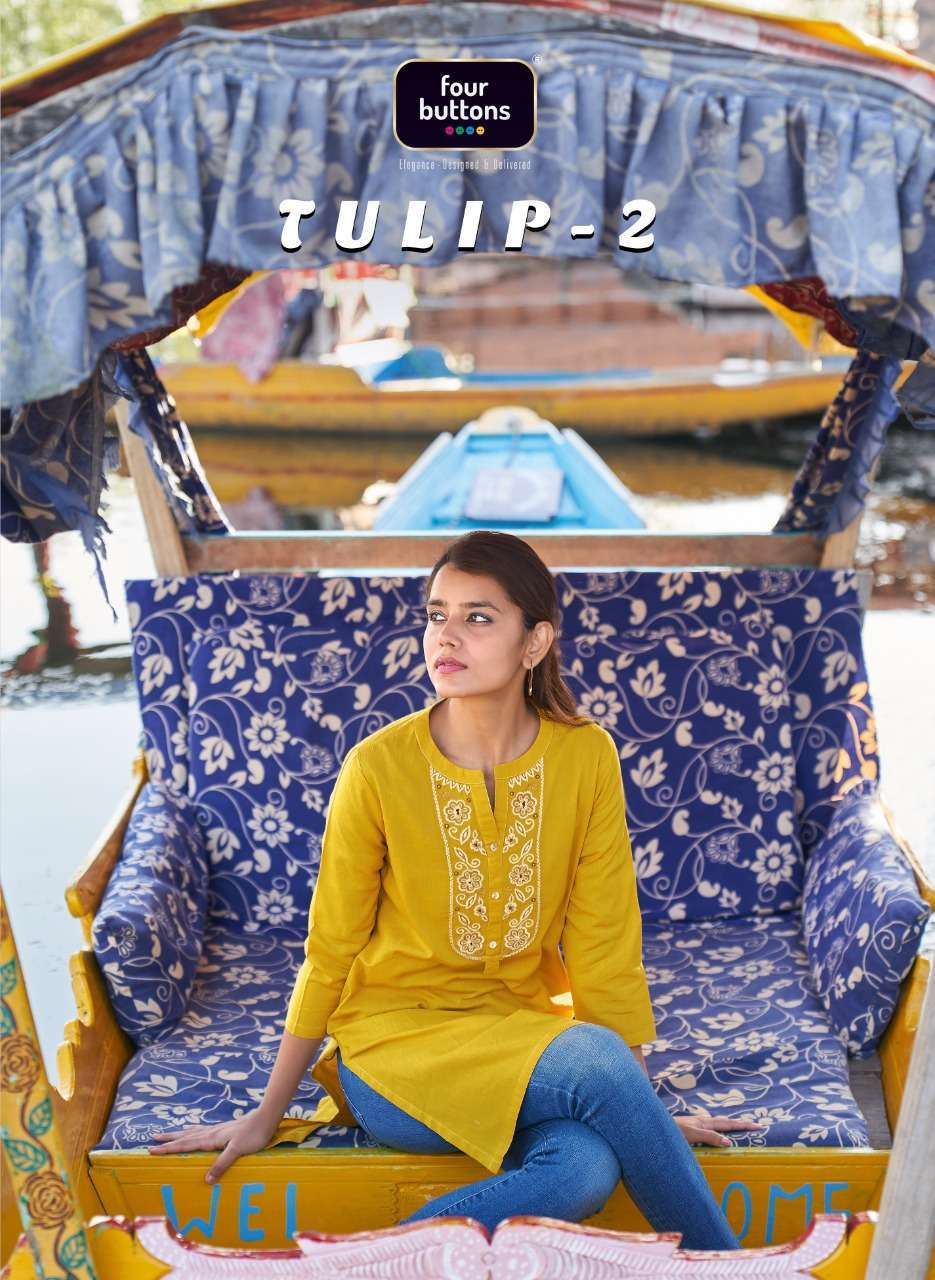 FOUR BUTTONS TULIP VOL 2 DOBBY COTTON WITH EMBROIDERY WORK KURTIS COLLECTION