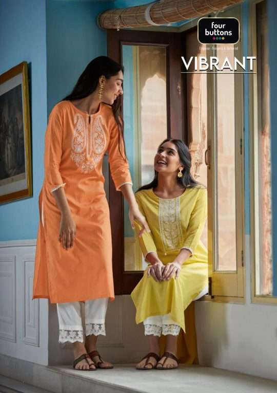 Four Buttons Vibrate Cotton Lucknowi Embroidery Work Kurti With Pant Collection