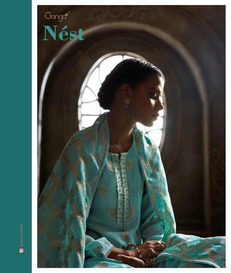 Ganga Nest Premium Georgette Jacquard With hand Work Salwar Kameez Collection