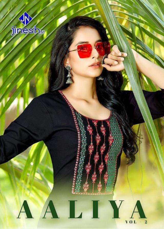Jinesh NX Aaliya Vol 2 Rayon With hand work Regular Wear Kurtis collection