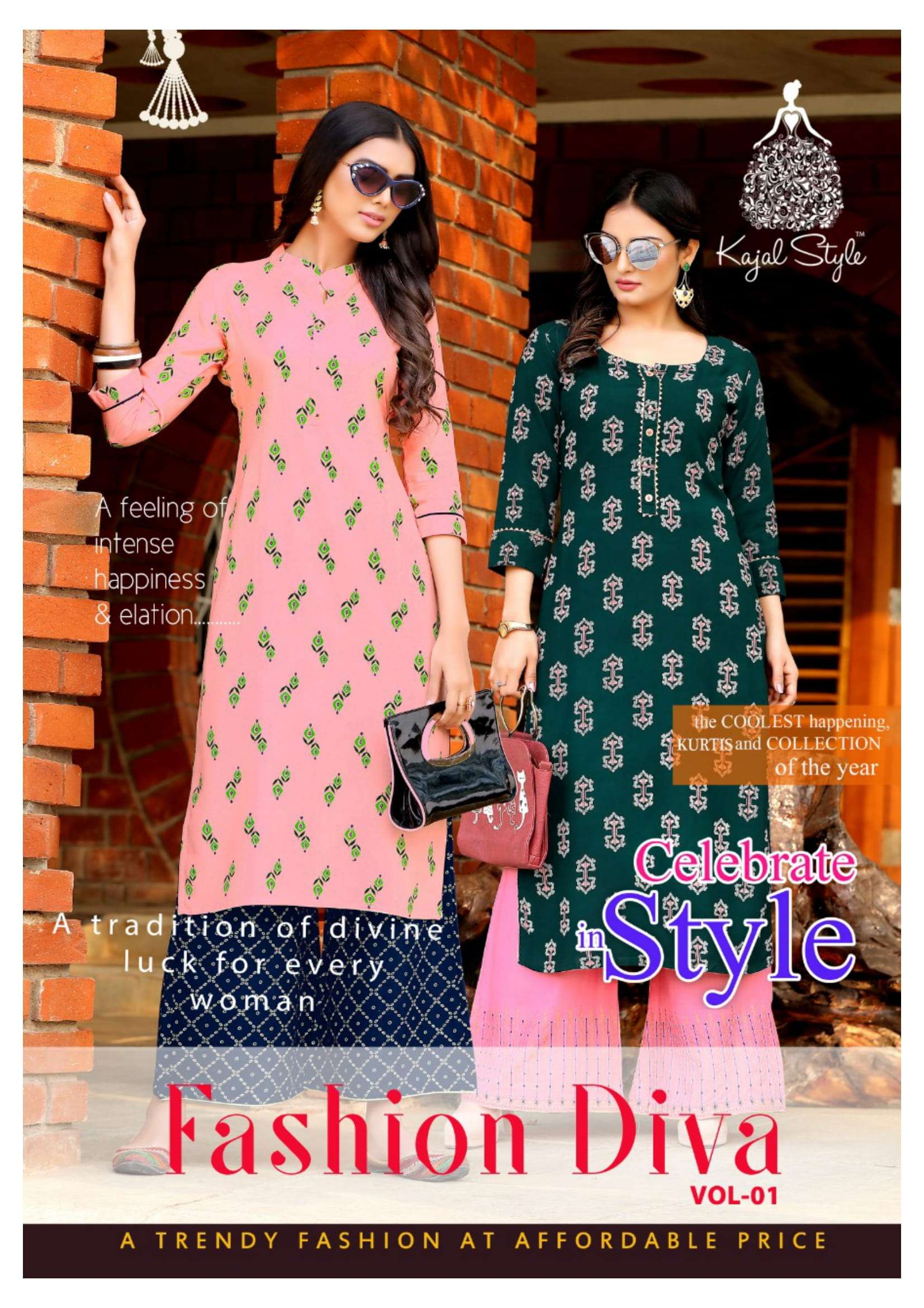 Kajal Style fashion Diva vol 1 Rayon With Fancy embroidery Work Kurti With Palazzo collection
