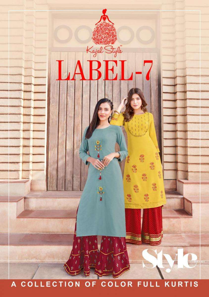 Kajal Style Fashion Label Vol 7 Heavy Rayon With Embroidery work Kurti With Palazzo sharara Collection