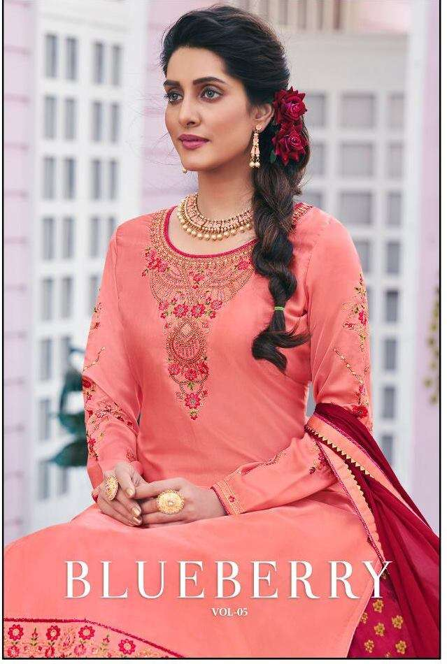Kessi fabrics Kalarang Blueberry Vol 5 Modal Satin Silk With heavy embroidery Work Dress material collection