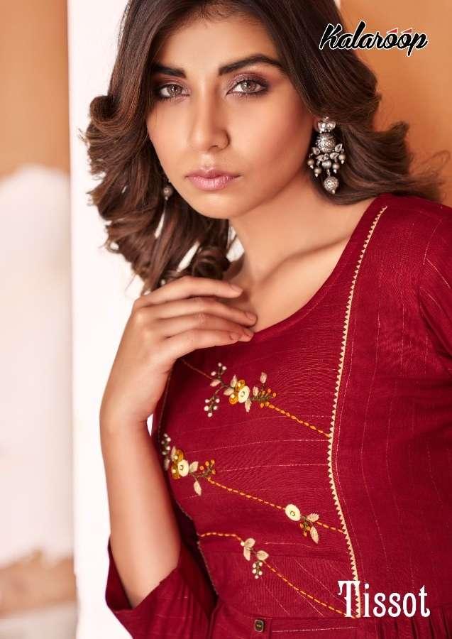 Kessi Fabrics Kalaroop Kajree Tissot Rayon With Khatli Work Kurti With Pant collection