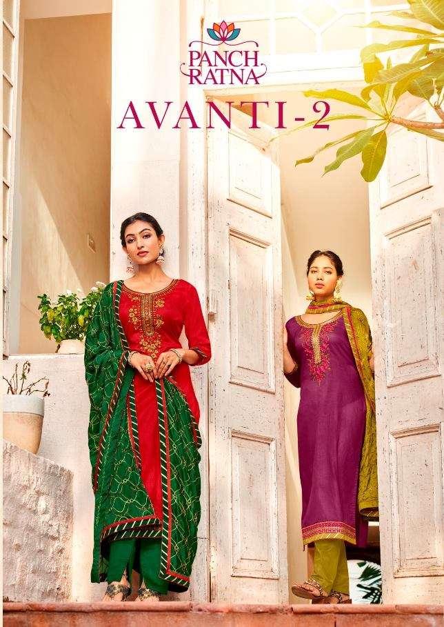 Kessi Fabrics Panch Ratna Avanti Vol 2 Cotton Satin With Hand work Dress Material collection
