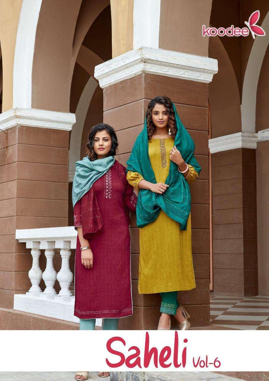 Koodee Fashion Saheli Vol 6 Nylon Viscose Embroidery Khatli Work Kurti With Bottom Dupatta collection