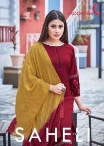 Koodee Saheli Vol 9 Pure Nylon Viscose With Stripe With fancy embroidery Work Salwar Kameez