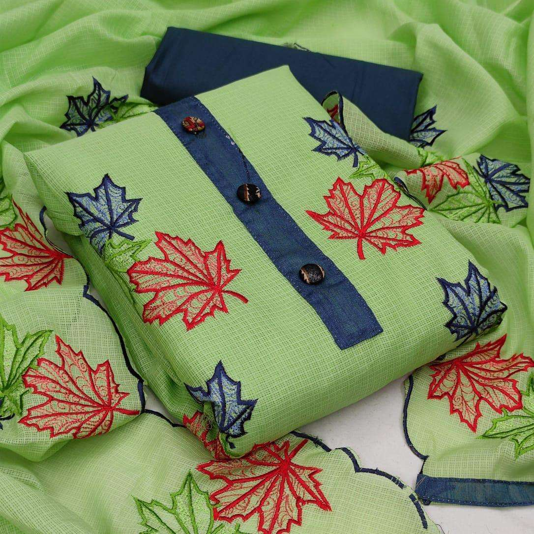Kota Checks With Embroidery Work Dress Material Collection 01