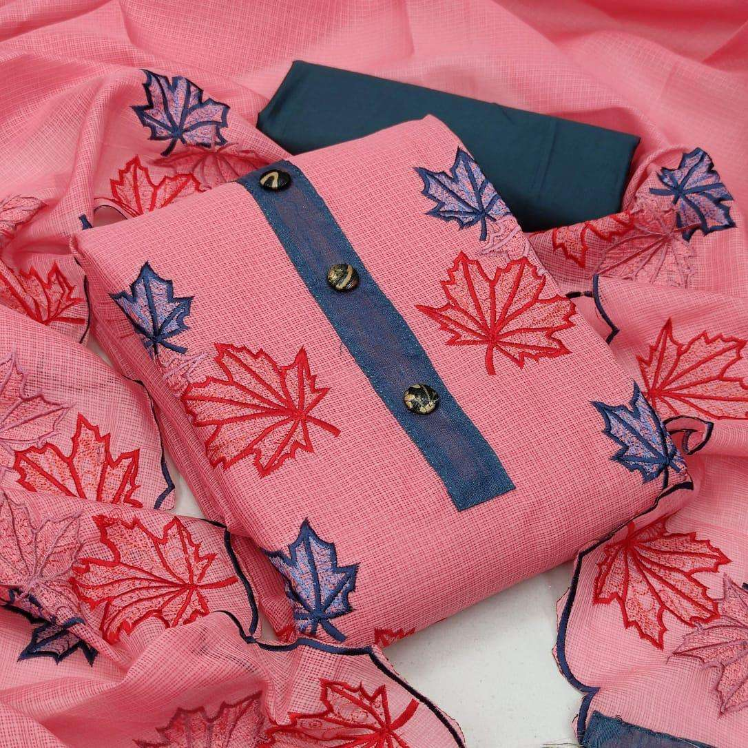 Kota Checks With Embroidery Work Dress Material Collection 02