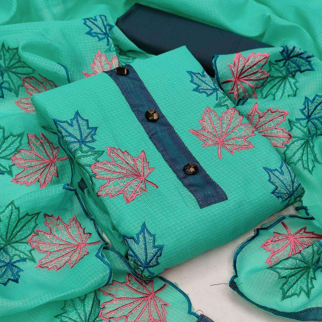 Kota Checks With Embroidery Work Dress Material Collection 03