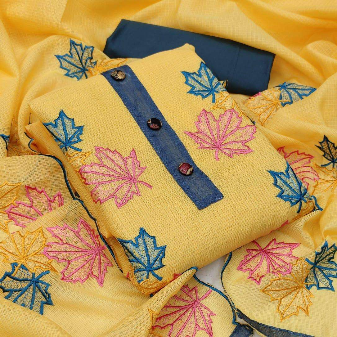 Kota checks With Embroidery Work Dress material collection