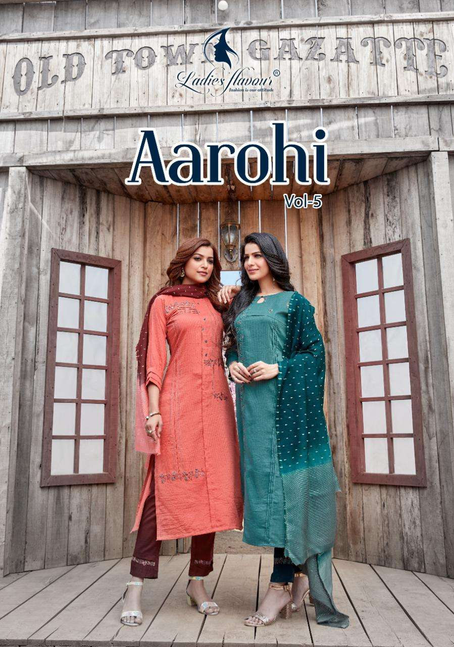 Ladies Flavour Aarohi Vol 5 chinon Lining With Embroidery Work Kurti With Bottom With Dupatta collection