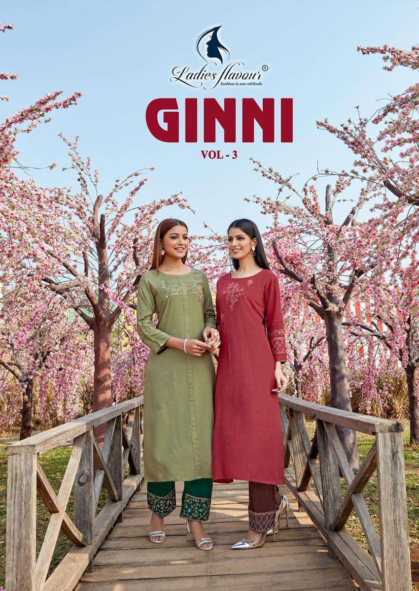 Ladies Flavour Ginni Vol 3 Rayon With heavy Embroidery Work Kurti Pant Collection