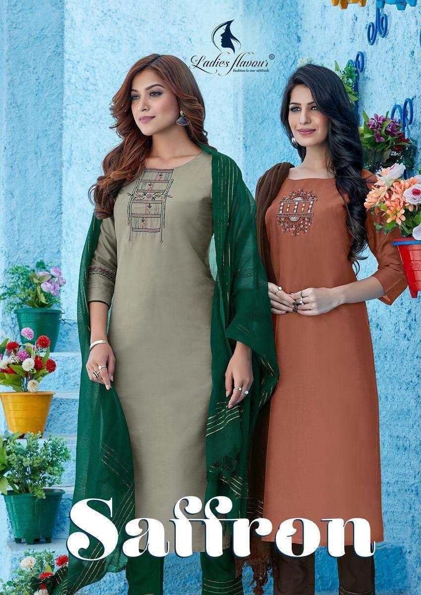 Ladies Flavour Saffron Viscose silk With Embroidery Khatli Work salwar Kameez Collection