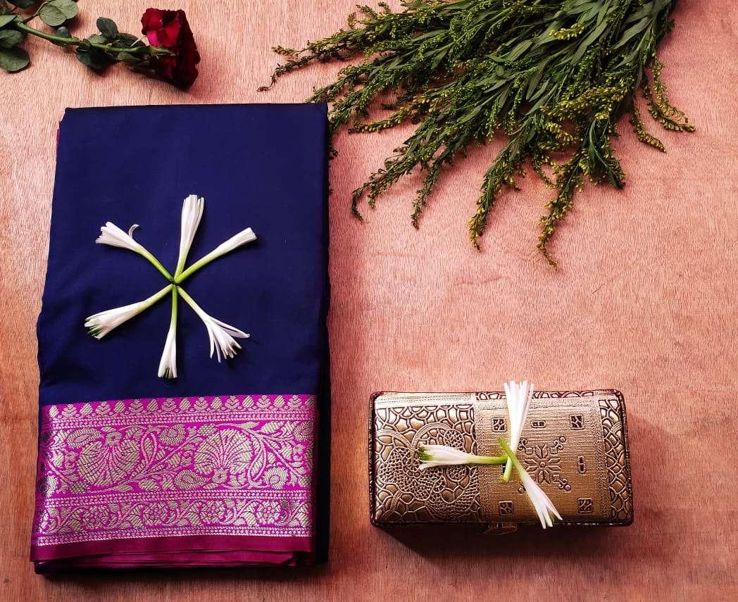 Latest Heavy Designer Pure Banarasi Silk Festival Wear BLUE Sarees COLLECTION