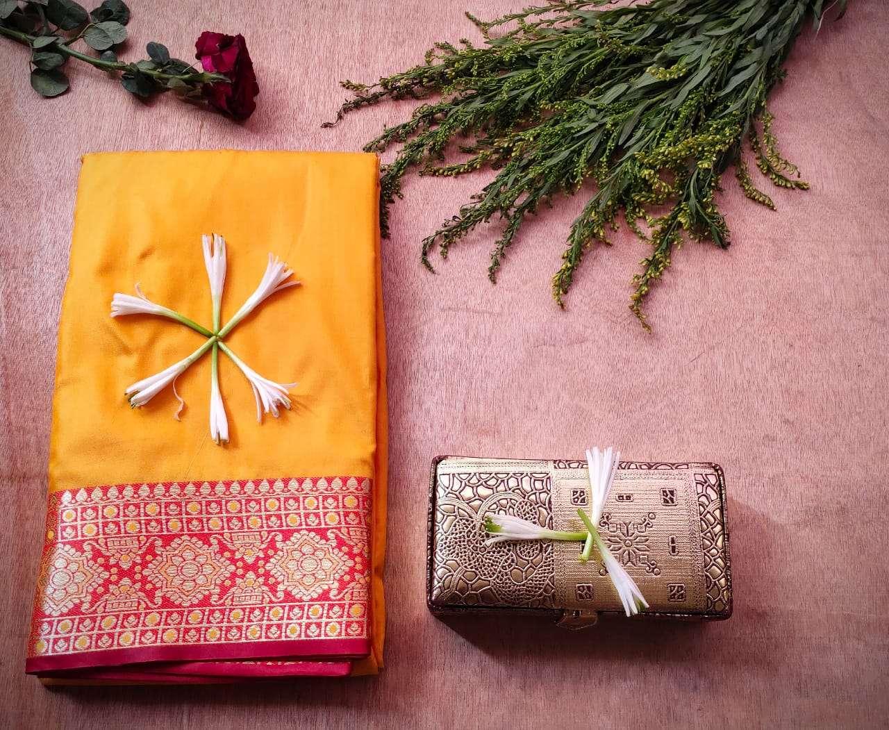 Latest Heavy Designer Pure Banarasi Silk Festival Wear YELLOW Sarees  COLLECTION 0