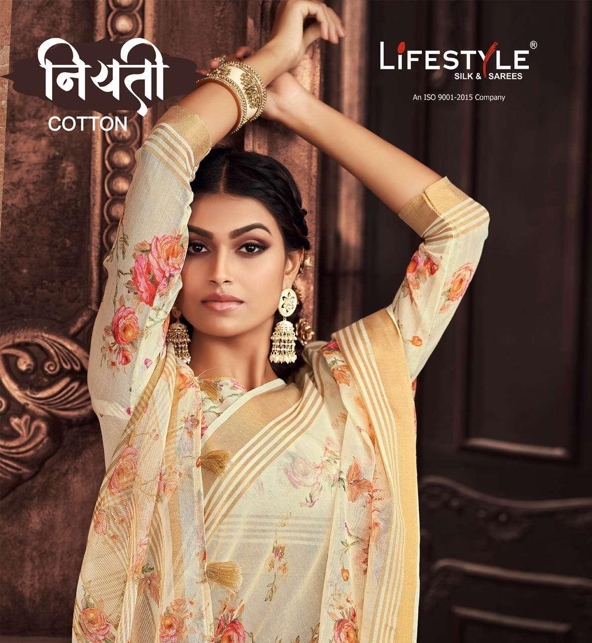 Lifestyle Niyati Cotton Linen cotton printed sarees collection