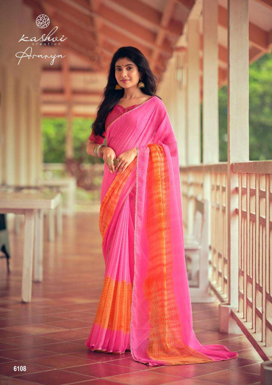 Lt Fabrics Kashvi Aranya Chiffon With Lace Border Sarees Collection 6