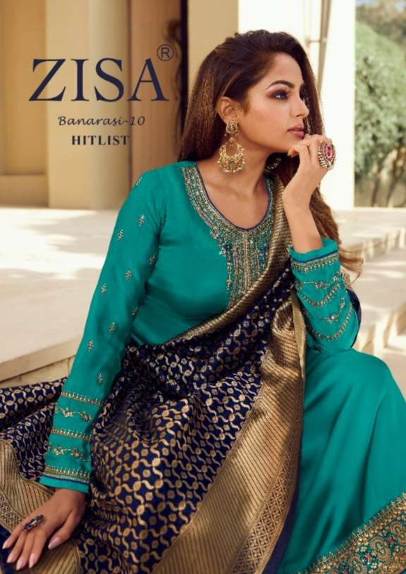 Meera Trendz Zisa Banarasi Vol 10 Satin Georgette With Embroidery Work Dress Material Collection